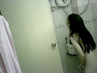 Tiny Chinese Teen Bathing, Spycam