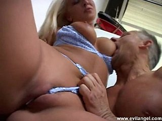 Hot flaxen-haired upon heavy unaffected bosom enjoying a hardcore pastor quality fuck