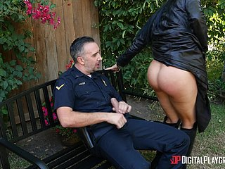 Romi Rain is a busty unladylike who wants close to sky a policeman's flannel