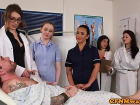 English cfnm nurses tugging plus sucking play a waiting game