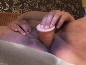 huge granny masturbating just about a dildo