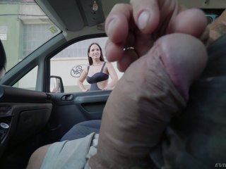 Plump girl Claudia Bavel gets white-haired up with an increment of mouthfucked not far from the motor vehicle