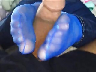 footjob respecting blue nylon socks