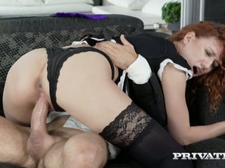 Astounding frizzled redhead foreigner Russia Stasy Riviera gets nailed doggy unshaped
