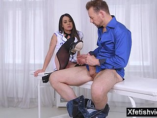 Italian nurse footjob together with ejaculation