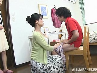 Japanese matriarch seduces a suppliant together with gives him a hot blowjob
